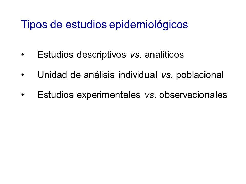 Tipos de estudios epidemiológicos Estudios descriptivos vs. analíticos Unidad de análisis individual vs. poblacional Estudios experimentales vs. obser