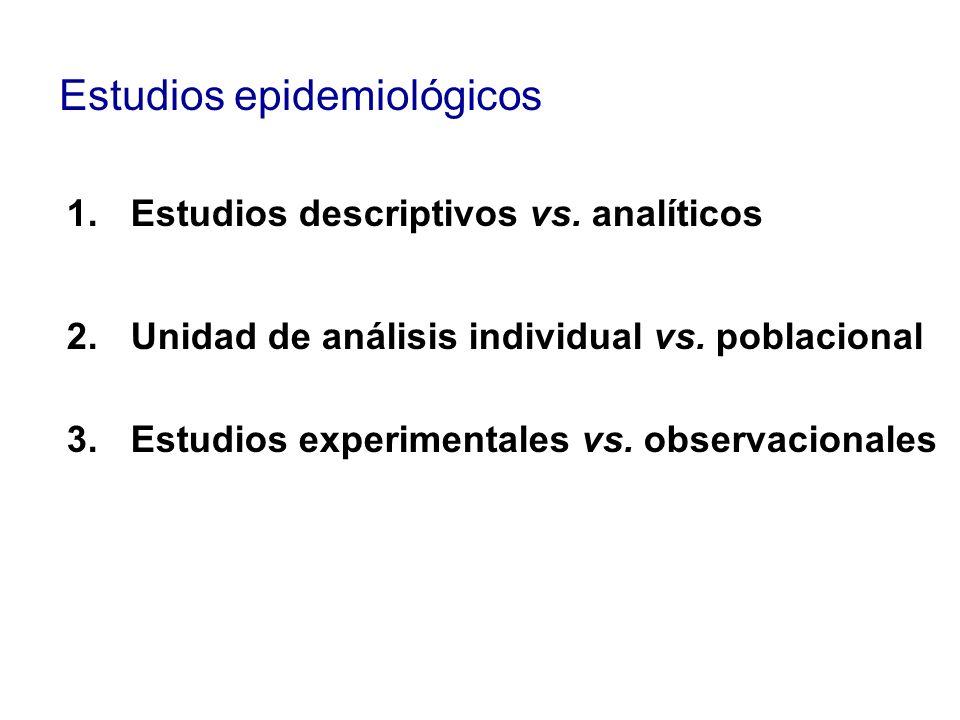 Estudios epidemiológicos 1.Estudios descriptivos vs. analíticos 2.Unidad de análisis individual vs. poblacional 3.Estudios experimentales vs. observac