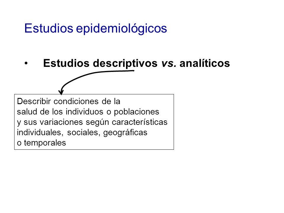 Estudios epidemiológicos Estudios descriptivos vs.