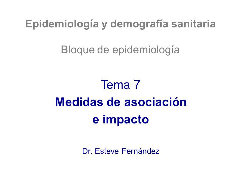 Epidemiología y demografía sanitaria Bloque de epidemiología Tema 7 Medidas de asociación e impacto Dr. Esteve Fernández