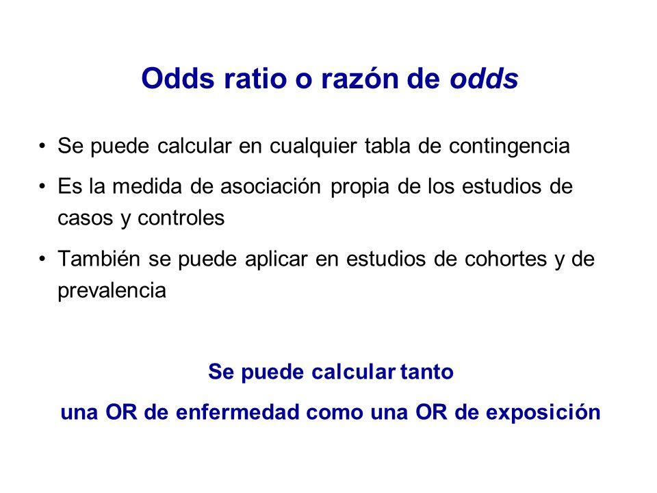 Odds ratio o razón de odds Se puede calcular en cualquier tabla de contingencia Es la medida de asociación propia de los estudios de casos y controles
