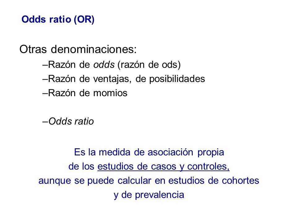 Otras denominaciones: –Razón de odds (razón de ods) –Razón de ventajas, de posibilidades –Razón de momios –Odds ratio Es la medida de asociación propi