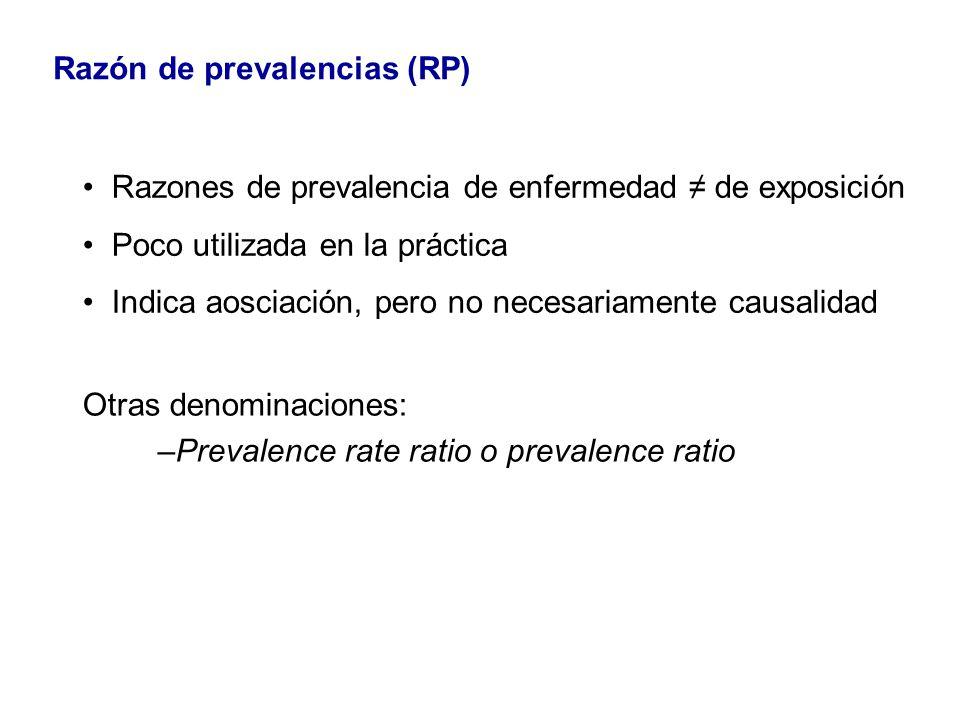 Otras denominaciones: –Prevalence rate ratio o prevalence ratio Razón de prevalencias (RP) Razones de prevalencia de enfermedad de exposición Poco uti