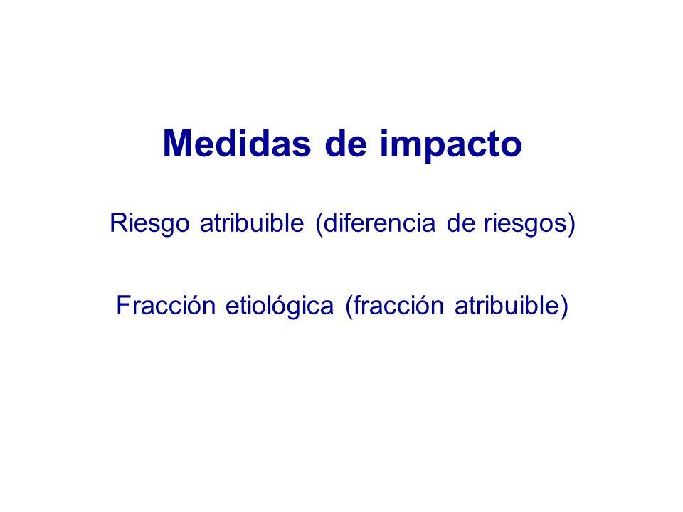 Medidas de impacto Riesgo atribuible (diferencia de riesgos) Fracción etiológica (fracción atribuible)