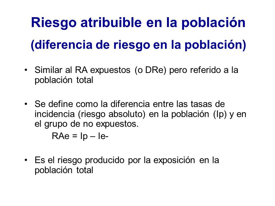 Riesgo atribuible en la población (diferencia de riesgo en la población) Similar al RA expuestos (o DRe) pero referido a la población total Se define