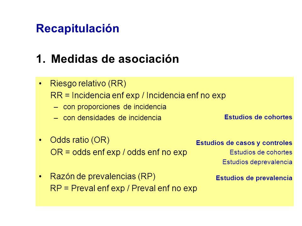 Recapitulación 1.Medidas de asociación Riesgo relativo (RR) RR = Incidencia enf exp / Incidencia enf no exp –con proporciones de incidencia –con densi