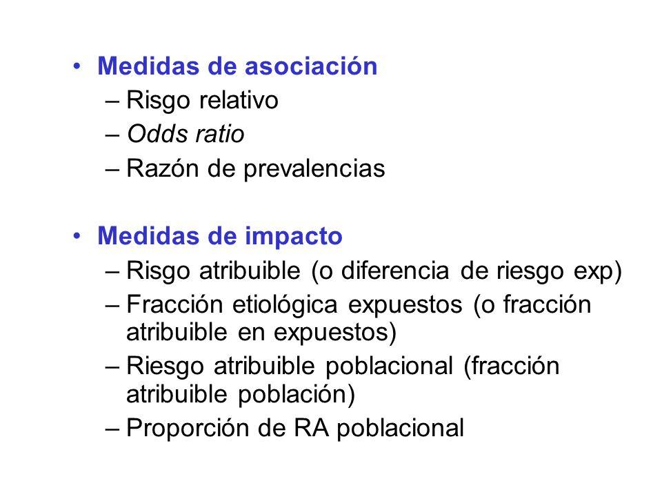 Medidas de asociación –Risgo relativo –Odds ratio –Razón de prevalencias Medidas de impacto –Risgo atribuible (o diferencia de riesgo exp) –Fracción e