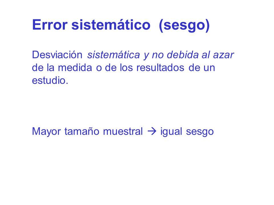 Error sistemático (sesgo) Desviación sistemática y no debida al azar de la medida o de los resultados de un estudio. Mayor tamaño muestral igual sesgo