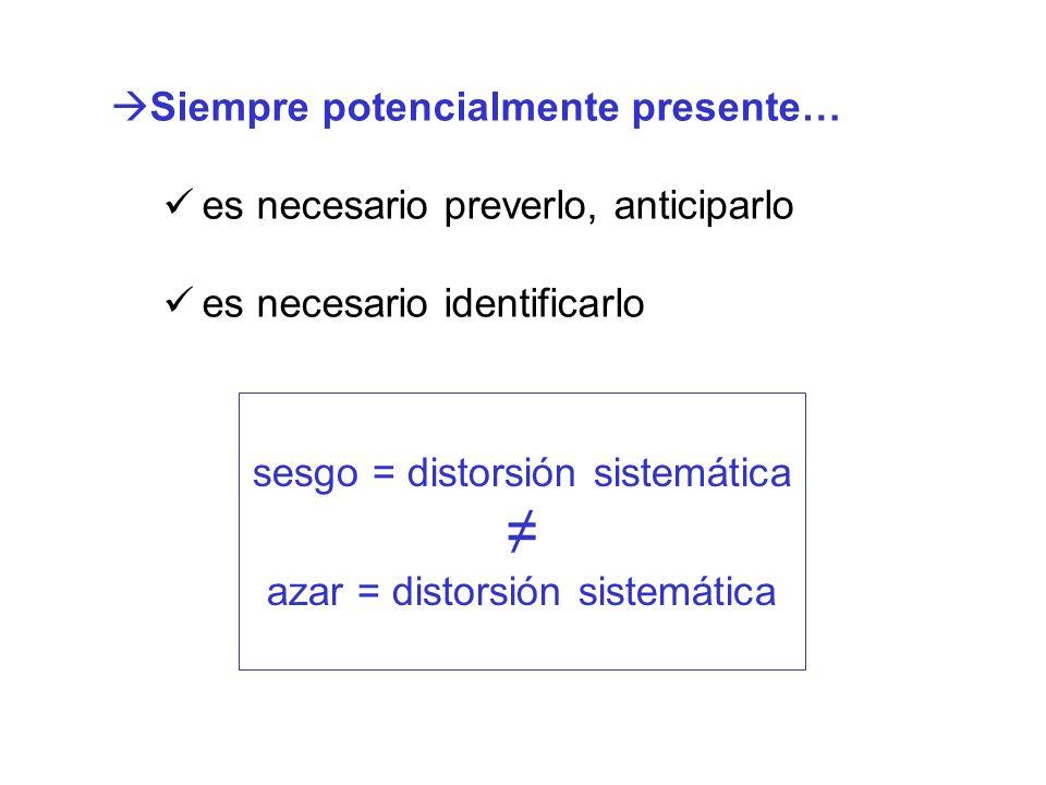 Siempre potencialmente presente… es necesario preverlo, anticiparlo es necesario identificarlo sesgo = distorsión sistemática azar = distorsión sistem