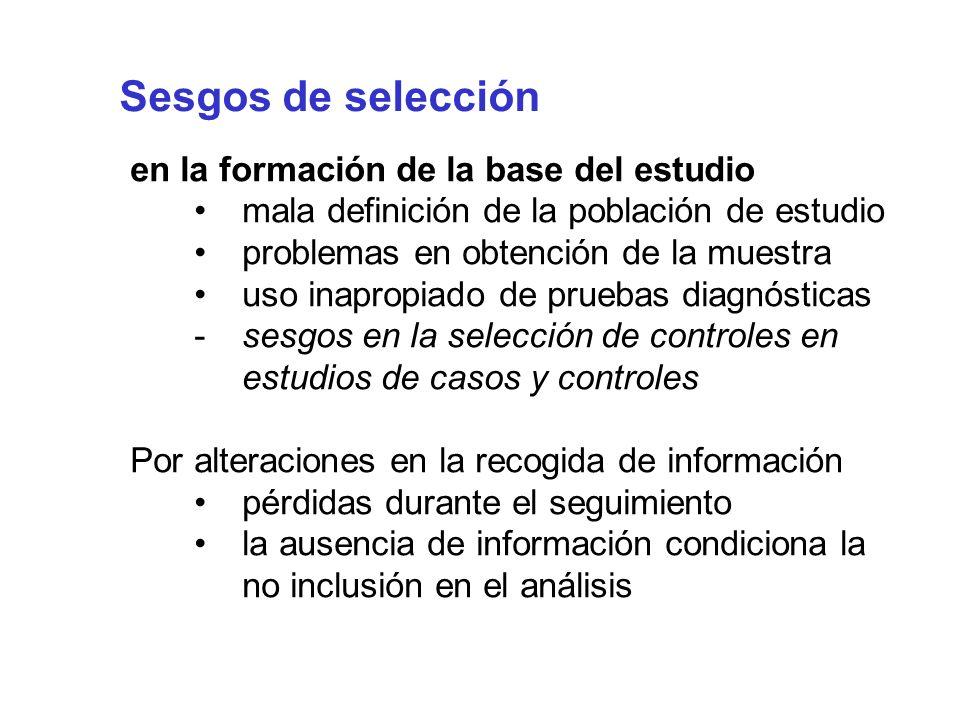 Sesgos de selección en la formación de la base del estudio mala definición de la población de estudio problemas en obtención de la muestra uso inaprop