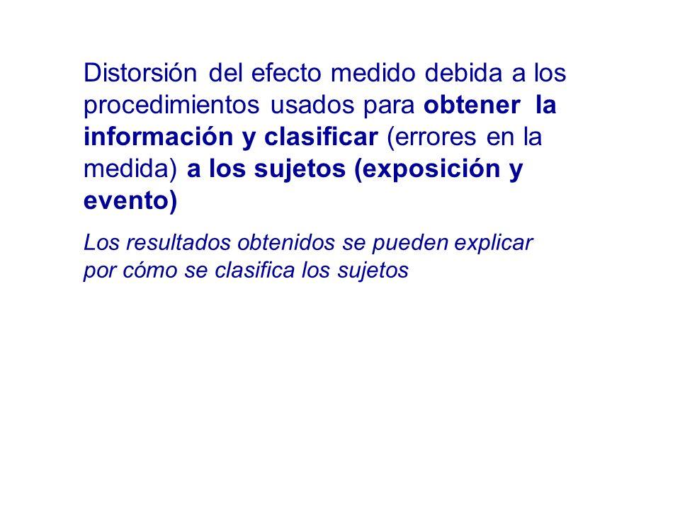Distorsión del efecto medido debida a los procedimientos usados para obtener la información y clasificar (errores en la medida) a los sujetos (exposic