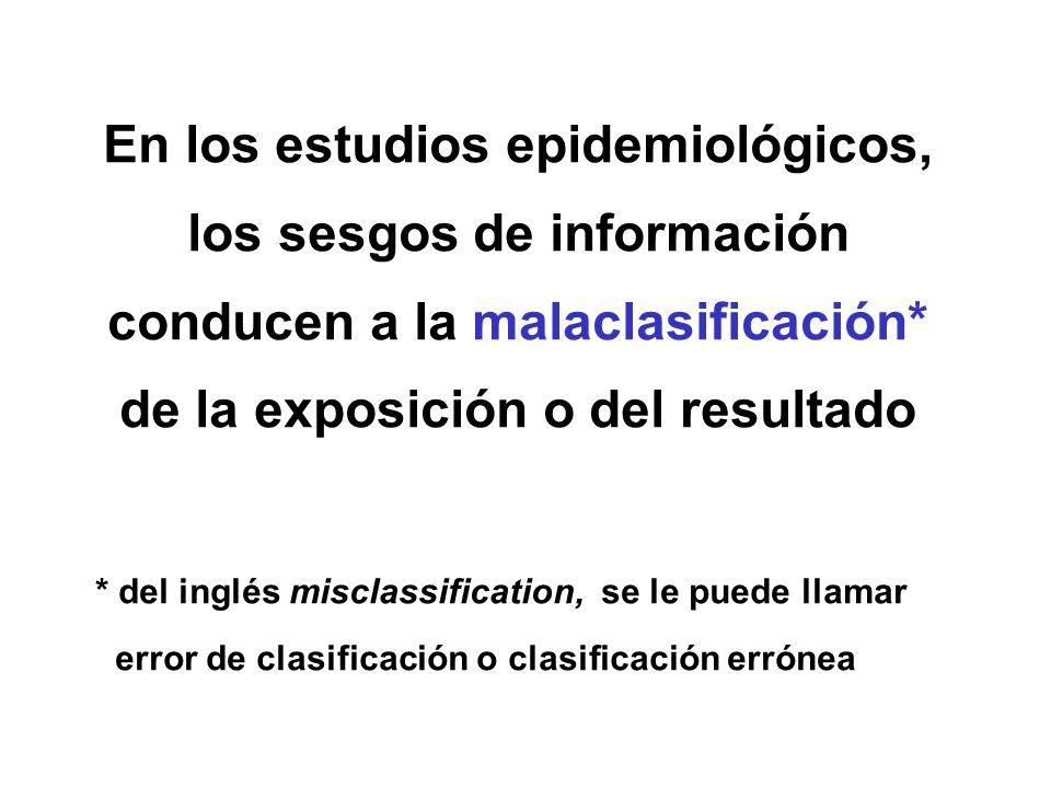 En los estudios epidemiológicos, los sesgos de información conducen a la malaclasificación* de la exposición o del resultado * del inglés misclassific
