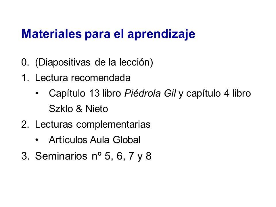 Materiales para el aprendizaje 0.(Diapositivas de la lección) 1.Lectura recomendada Capítulo 13 libro Piédrola Gil y capítulo 4 libro Szklo & Nieto 2.
