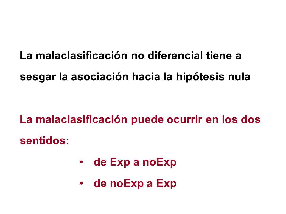 La malaclasificación no diferencial tiene a sesgar la asociación hacia la hipótesis nula La malaclasificación puede ocurrir en los dos sentidos: de Ex