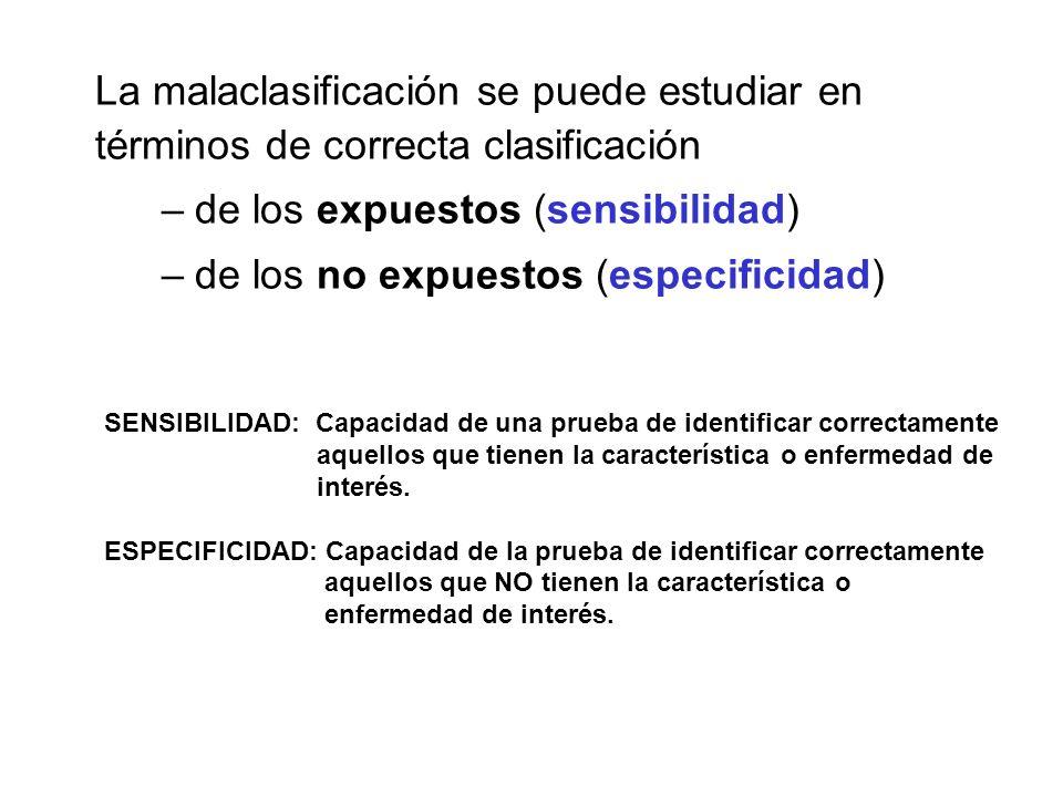 La malaclasificación se puede estudiar en términos de correcta clasificación –de los expuestos (sensibilidad) –de los no expuestos (especificidad) SEN