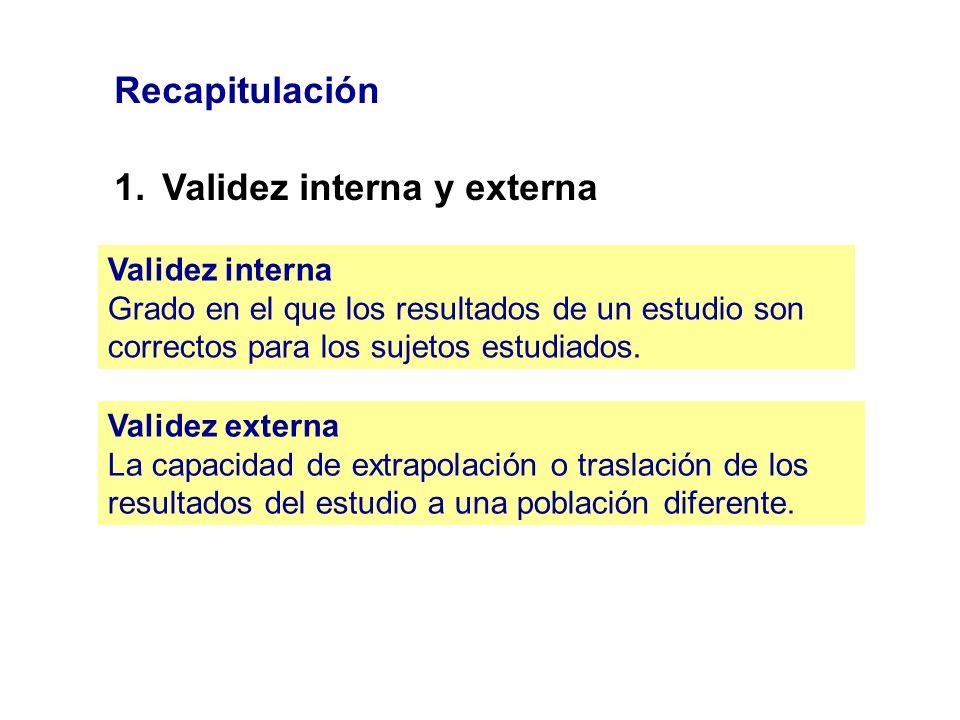 Recapitulación 1.Validez interna y externa Validez interna Grado en el que los resultados de un estudio son correctos para los sujetos estudiados. Val