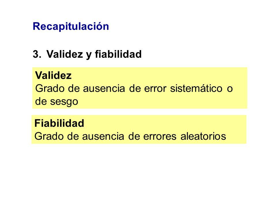 Recapitulación 3.Validez y fiabilidad Validez Grado de ausencia de error sistemático o de sesgo Fiabilidad Grado de ausencia de errores aleatorios