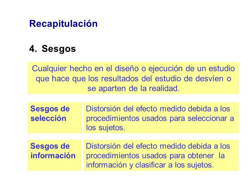 Recapitulación 4.Sesgos Cualquier hecho en el diseño o ejecución de un estudio que hace que los resultados del estudio de desvíen o se aparten de la r