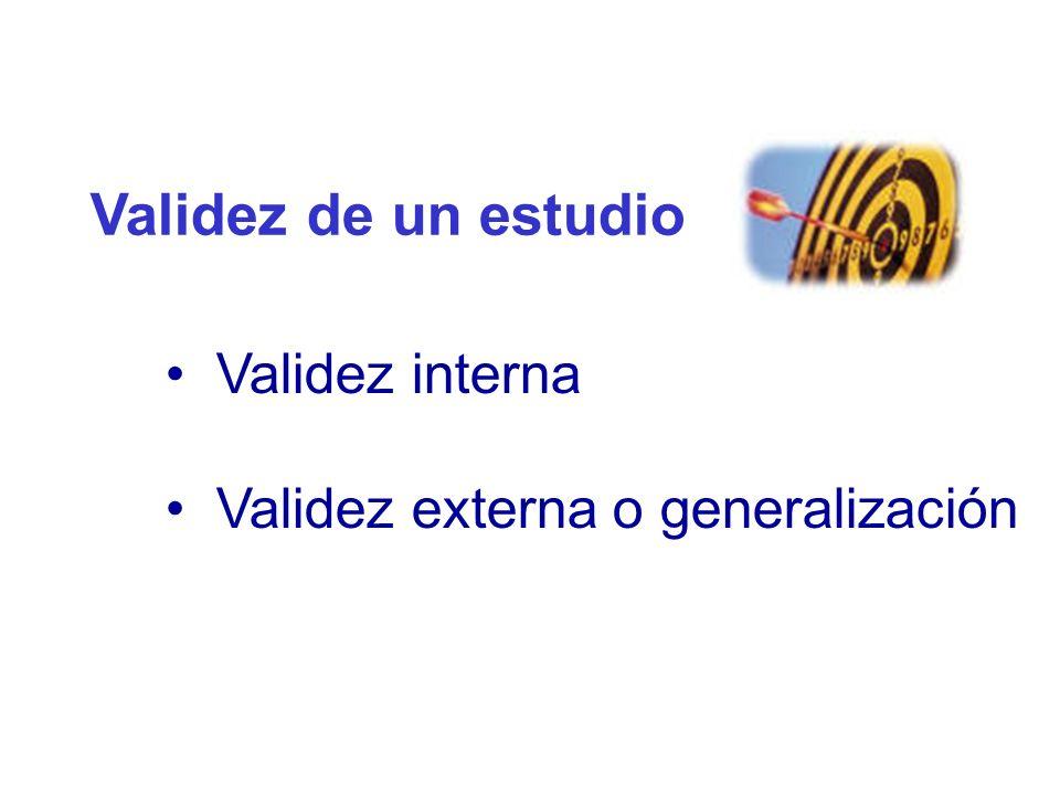 Validez de un estudio Validez interna Validez externa o generalización