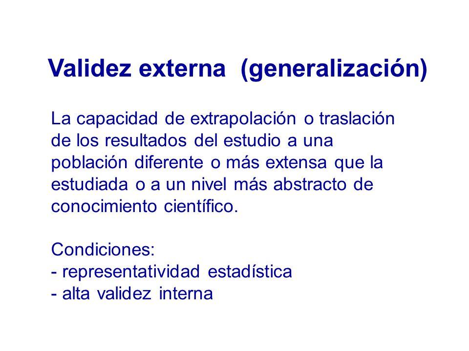 Validez externa (generalización) La capacidad de extrapolación o traslación de los resultados del estudio a una población diferente o más extensa que