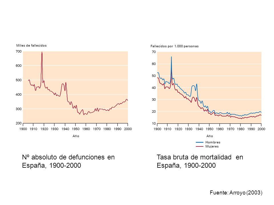 Nº absoluto de defunciones en España, 1900-2000 Tasa bruta de mortalidad en España, 1900-2000 Fuente: Arroyo (2003)