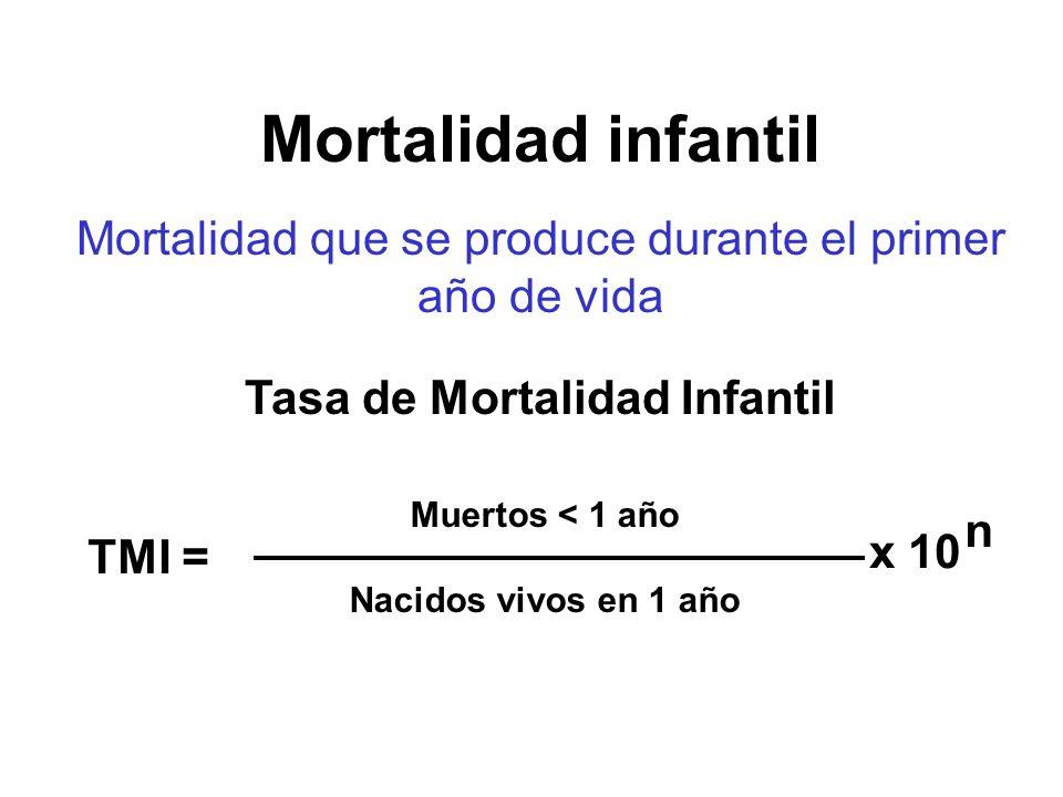Mortalidad que se produce durante el primer año de vida Tasa de Mortalidad Infantil Muertos < 1 año Nacidos vivos en 1 año TMI = x 10 n