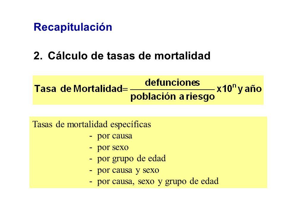 Recapitulación 2.Cálculo de tasas de mortalidad Tasas de mortalidad específicas - por causa - por sexo - por grupo de edad - por causa y sexo - por ca