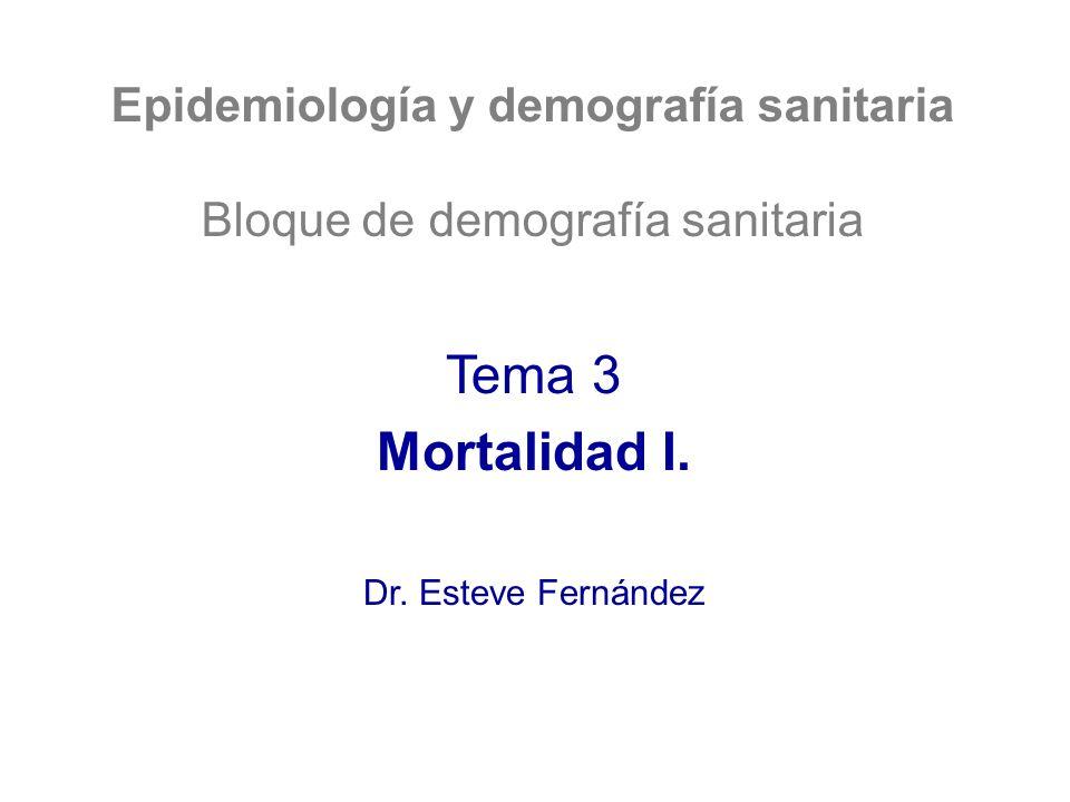 Epidemiología y demografía sanitaria Bloque de demografía sanitaria Tema 3 Mortalidad I. Dr. Esteve Fernández