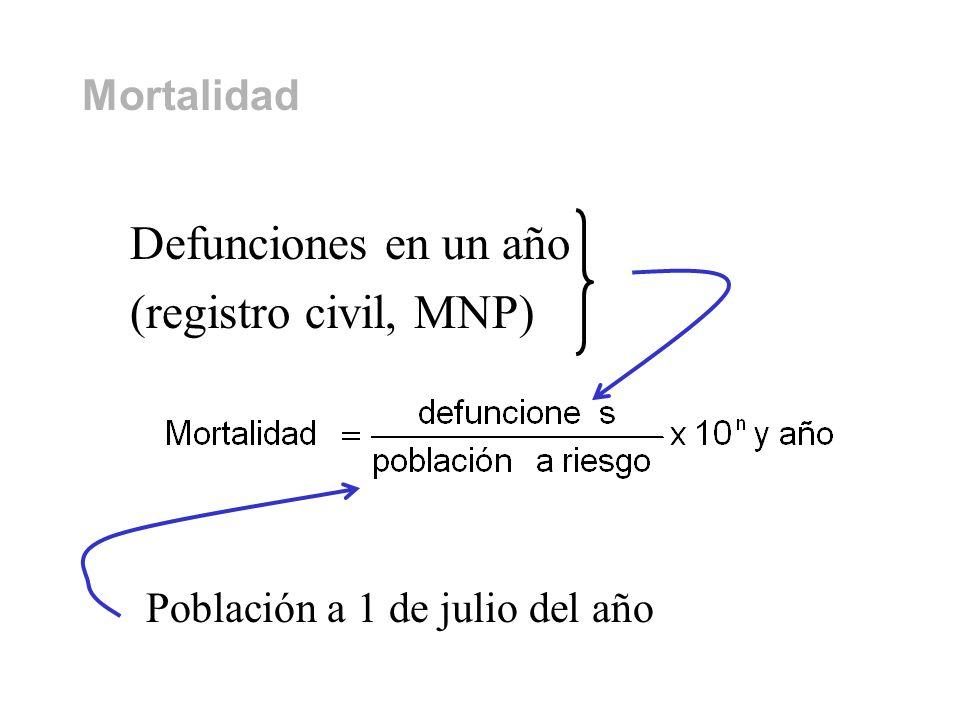Mortalidad Defunciones en un año (registro civil, MNP) Población a 1 de julio del año