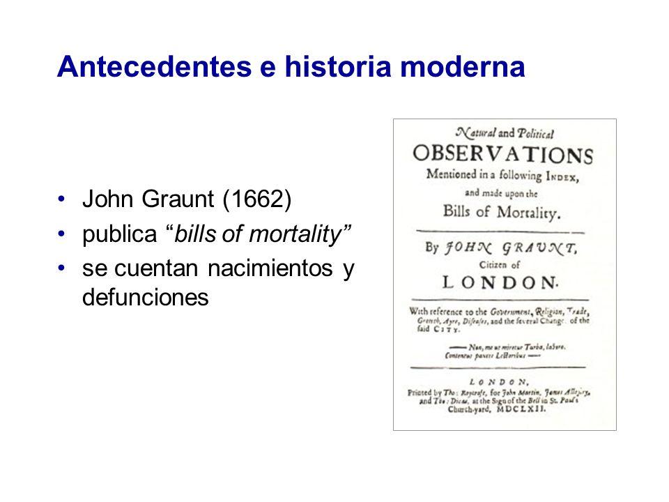 Antecedentes e historia moderna John Graunt (1662) publica bills of mortality se cuentan nacimientos y defunciones