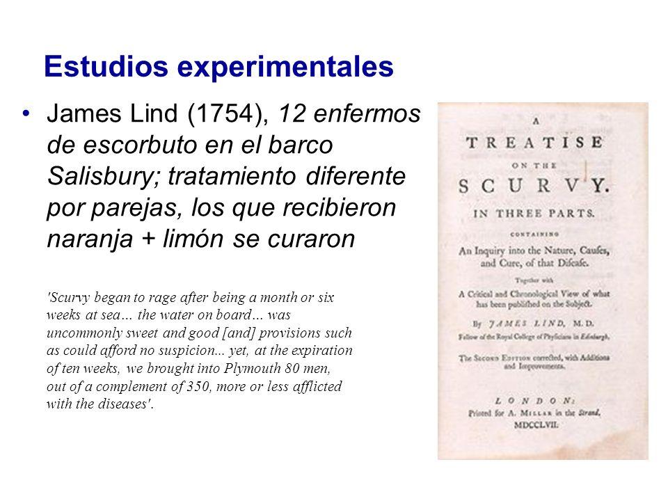 Estudios experimentales James Lind (1754), 12 enfermos de escorbuto en el barco Salisbury; tratamiento diferente por parejas, los que recibieron naran