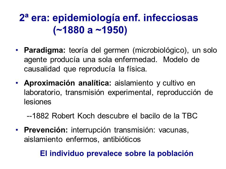 2ª era: epidemiología enf. infecciosas (~1880 a ~1950) Paradigma: teoría del germen (microbiológico), un solo agente producía una sola enfermedad. Mod