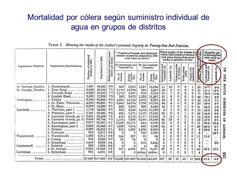 Mortalidad por cólera según suministro individual de agua en grupos de distritos