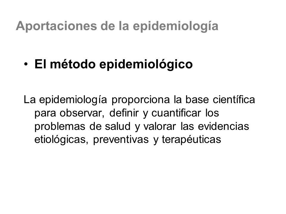 El método epidemiológico La epidemiología proporciona la base científica para observar, definir y cuantificar los problemas de salud y valorar las evi