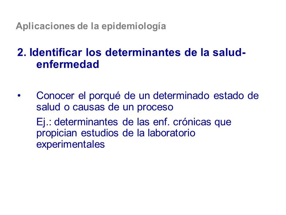 Aplicaciones de la epidemiología 2. Identificar los determinantes de la salud- enfermedad Conocer el porqué de un determinado estado de salud o causas