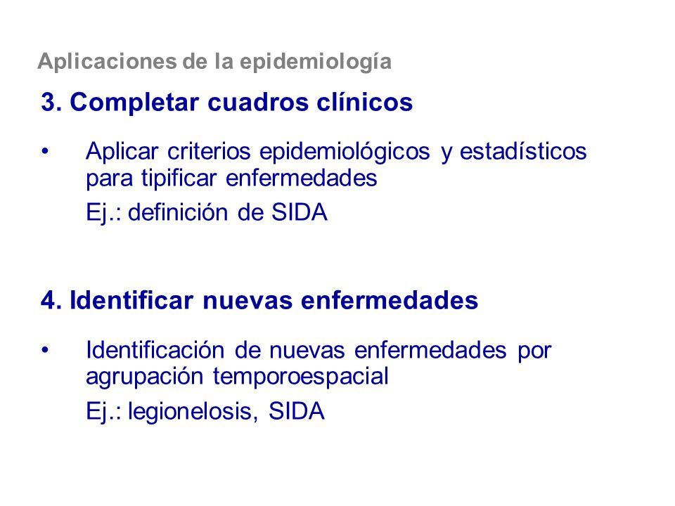 Aplicaciones de la epidemiología 3. Completar cuadros clínicos Aplicar criterios epidemiológicos y estadísticos para tipificar enfermedades Ej.: defin