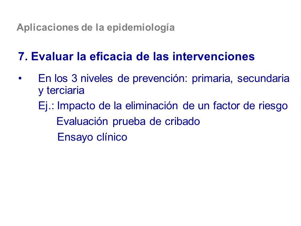 Aplicaciones de la epidemiología 7. Evaluar la eficacia de las intervenciones En los 3 niveles de prevención: primaria, secundaria y terciaria Ej.: Im