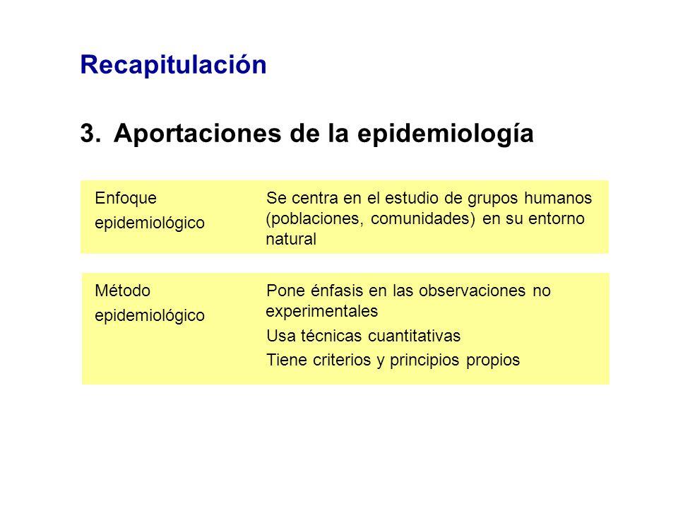 Recapitulación 3.Aportaciones de la epidemiología Se centra en el estudio de grupos humanos (poblaciones, comunidades) en su entorno natural Enfoque e