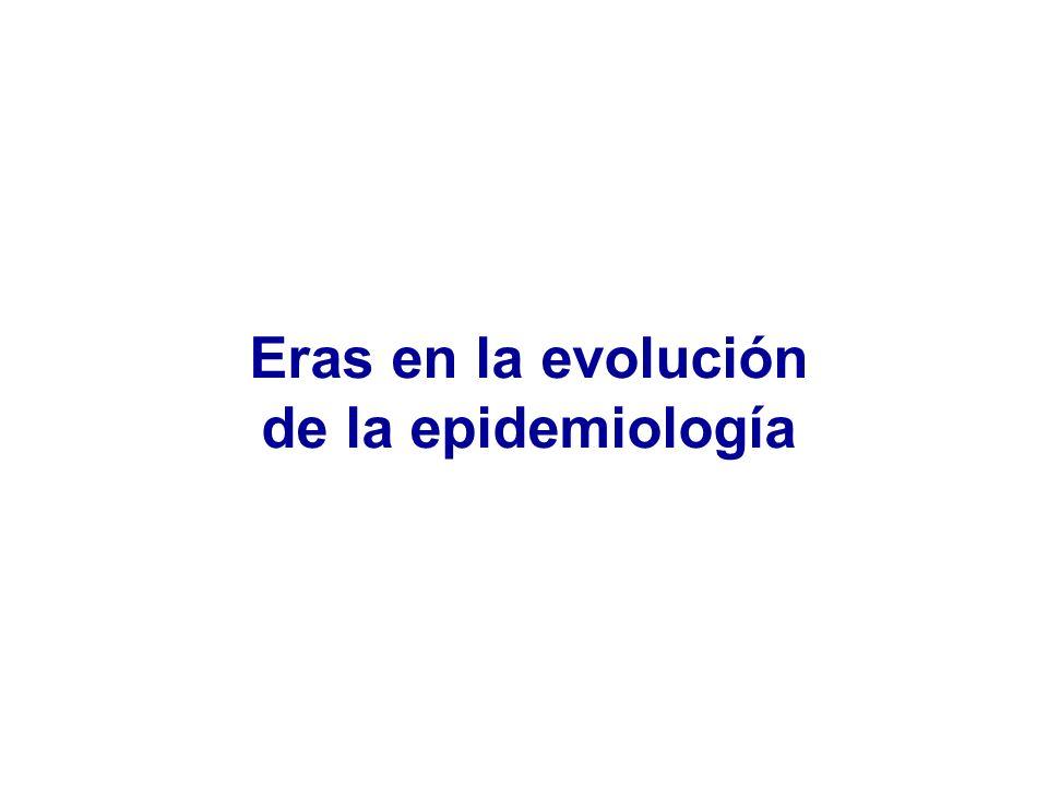 Eras en la evolución de la epidemiología Estadística sanitaria (hasta ~1880) Epidemiología de las enfermedades infecciosas (~ 1880 a ~1950) Epidemiología de las enfermedades crónicas (~ 1950 a ~actualidad) Eco-Epidemiología ( ~actualidad) Fuente: Suser y Suser (1995)