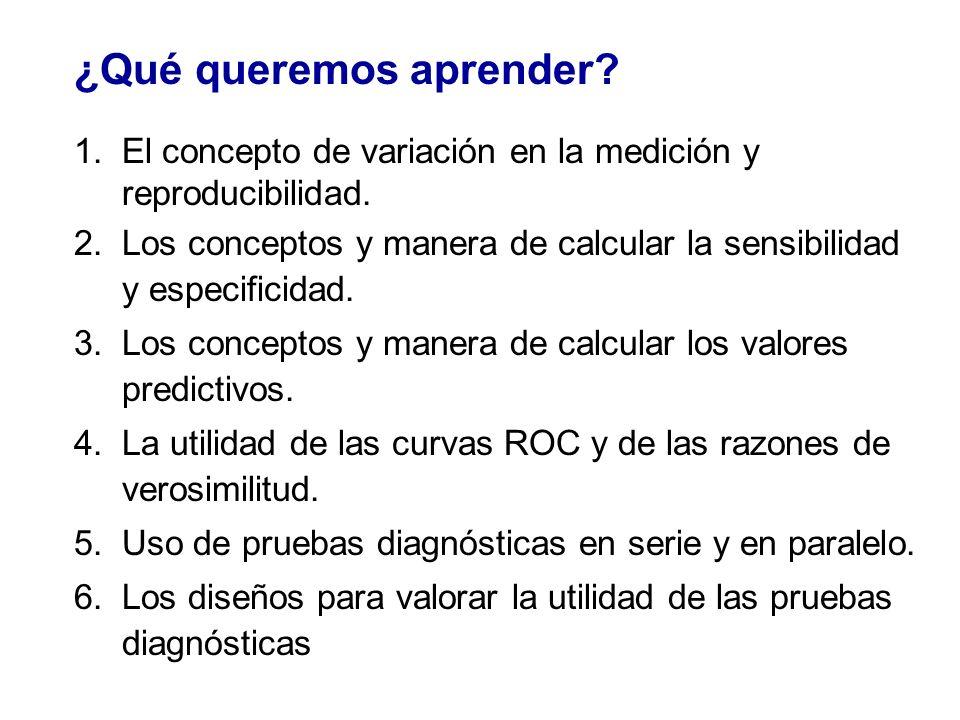 ¿Qué queremos aprender? 1.El concepto de variación en la medición y reproducibilidad. 2.Los conceptos y manera de calcular la sensibilidad y especific