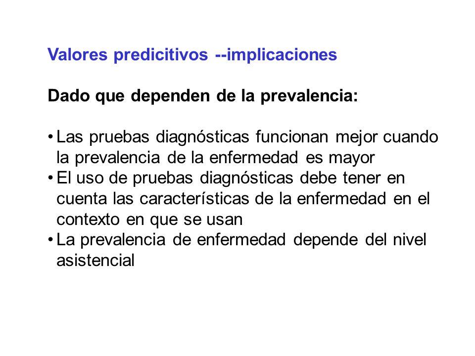 Valores predicitivos --implicaciones Dado que dependen de la prevalencia: Las pruebas diagnósticas funcionan mejor cuando la prevalencia de la enferme