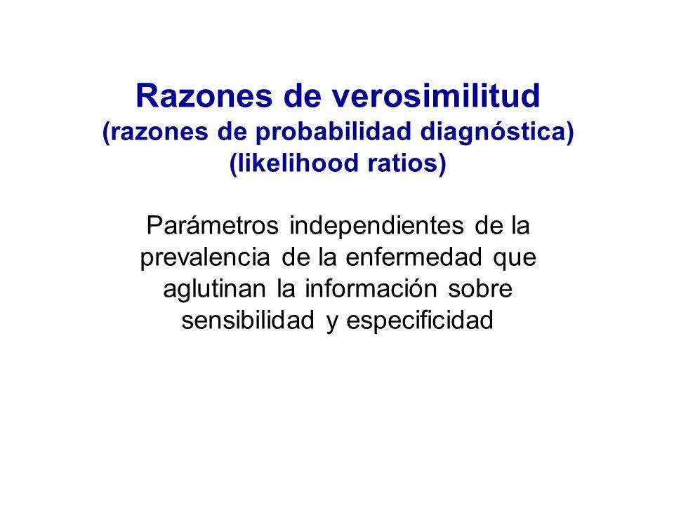 Razones de verosimilitud (razones de probabilidad diagnóstica) (likelihood ratios) Parámetros independientes de la prevalencia de la enfermedad que ag