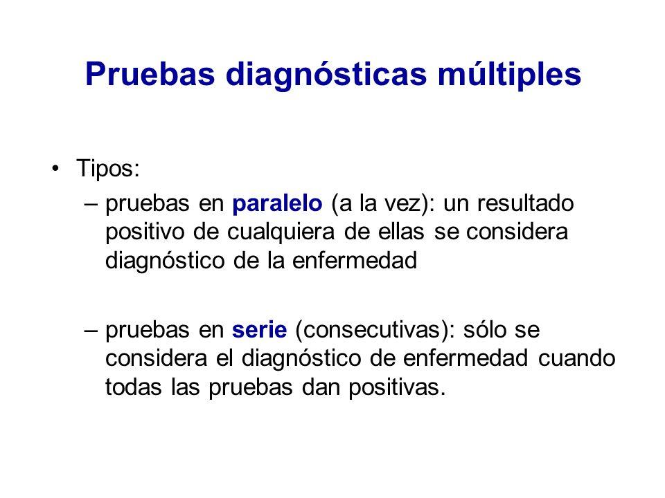 Pruebas diagnósticas múltiples Tipos: –pruebas en paralelo (a la vez): un resultado positivo de cualquiera de ellas se considera diagnóstico de la enf