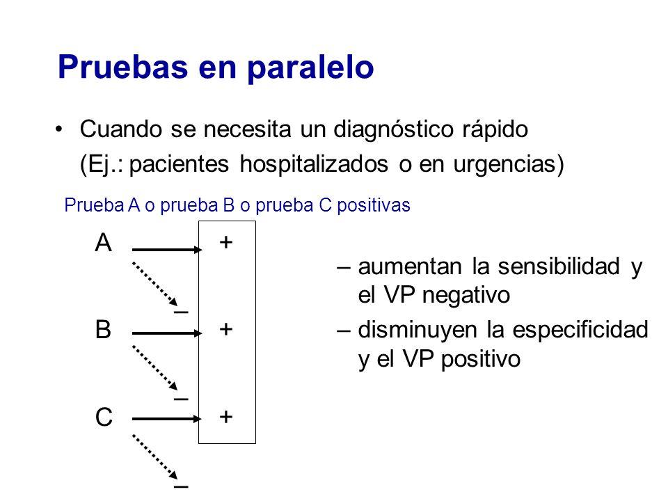 Pruebas en paralelo Cuando se necesita un diagnóstico rápido (Ej.: pacientes hospitalizados o en urgencias) –aumentan la sensibilidad y el VP negativo