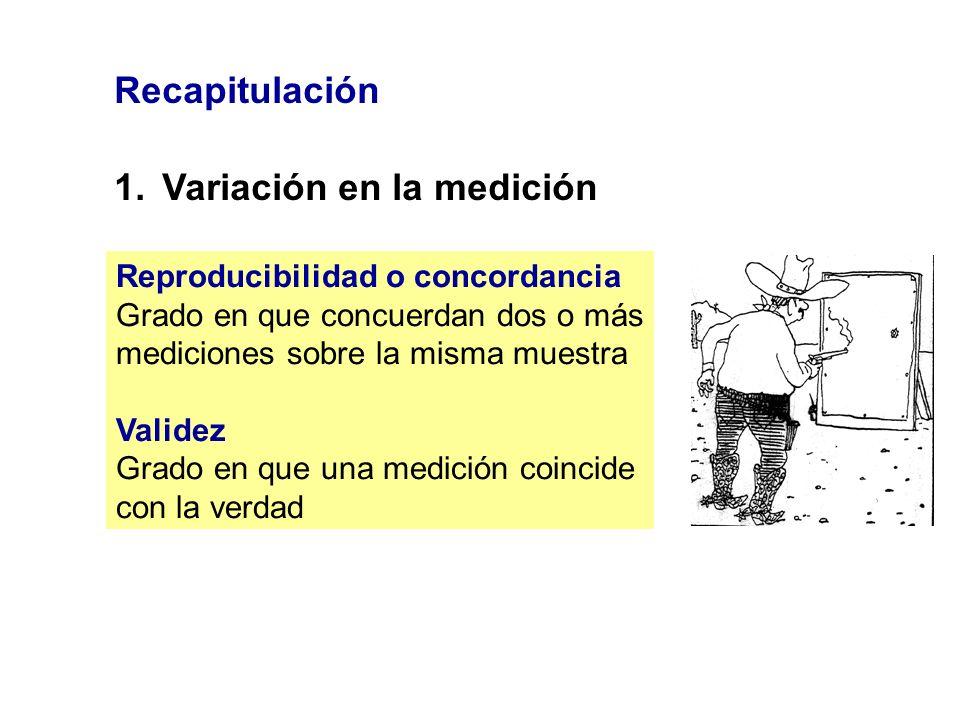 Recapitulación 1.Variación en la medición Reproducibilidad o concordancia Grado en que concuerdan dos o más mediciones sobre la misma muestra Validez
