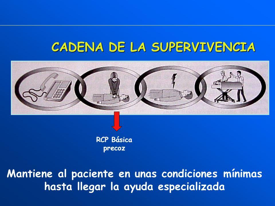 CADENA DE LA SUPERVIVENCIA OXIGENACIÓN CEREBRAL Desfibrilación precoz La causa mas frecuente de PCR en el adulto es la FV (arritmia).Cuanto antes se disponga del desfibrilador y mas precoz sea la descarga, mayor es la probabilidad de éxito.