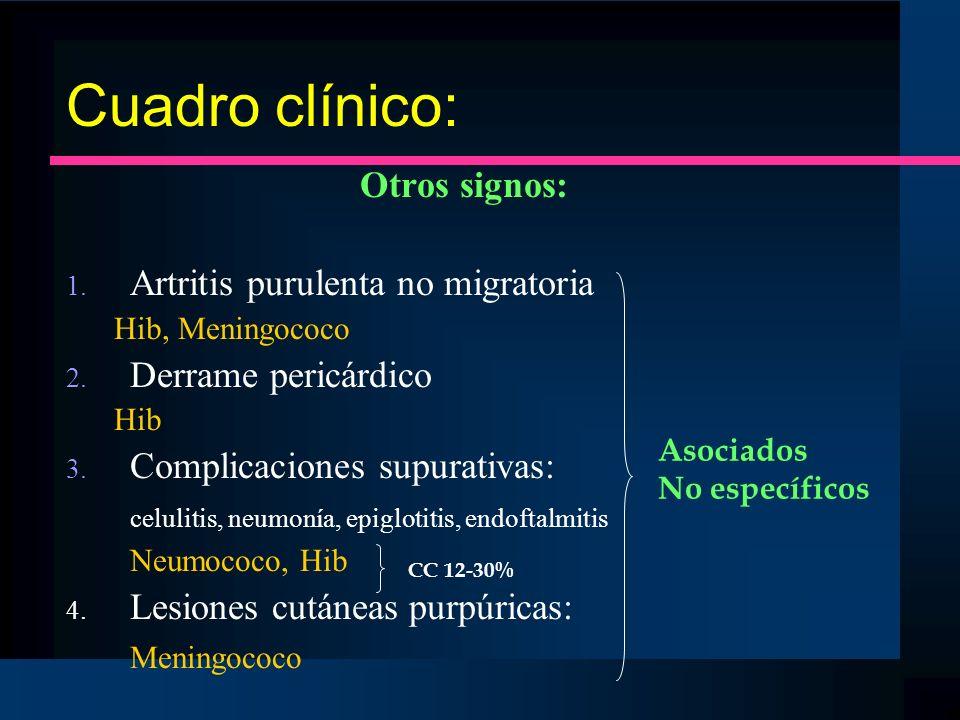 Cuadro clínico: Otros signos: 1. Artritis purulenta no migratoria Hib, Meningococo 2. Derrame pericárdico Hib 3. Complicaciones supurativas: celulitis
