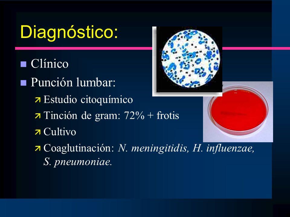 Diagnóstico: n Clínico n Punción lumbar: ä Estudio citoquímico ä Tinción de gram: 72% + frotis ä Cultivo ä Coaglutinación: N. meningitidis, H. influen