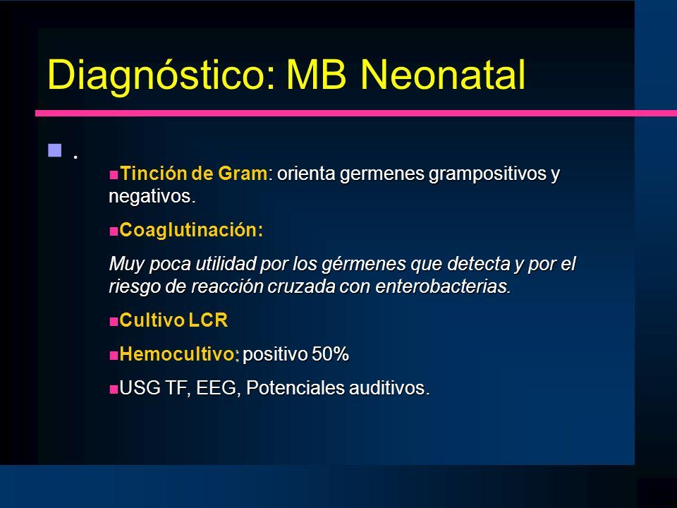 Diagnóstico: MB Neonatal n.n. : orienta germenes grampositivos y negativos. n Tinción de Gram: orienta germenes grampositivos y negativos. n Coaglutin