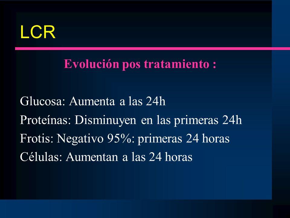 LCR Evolución pos tratamiento : Glucosa: Aumenta a las 24h Proteínas: Disminuyen en las primeras 24h Frotis: Negativo 95%: primeras 24 horas Células: